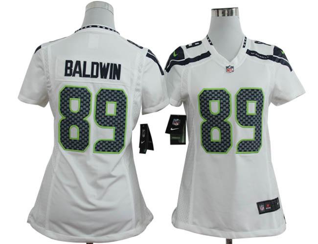 Nike Seahawks 89 Baldwin White Women Game Jerseys