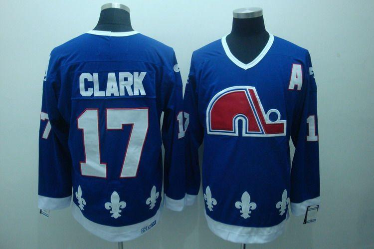 Nordiques 17 Clark Blue Jerseys