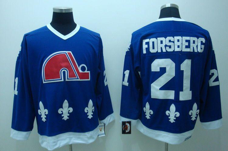 Nordiques 21 Forsberg Blue Jerseys