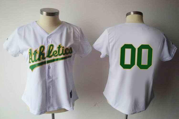 Oakland Athletics Blank White Women Custom Jerseys