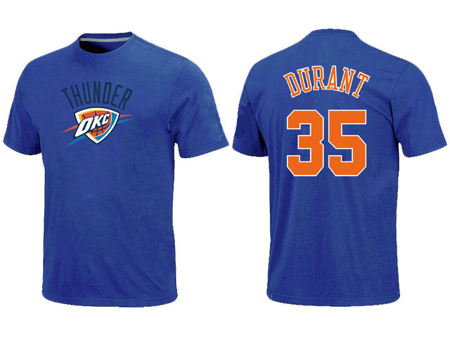 Oklahoma City Thunder 35 Kevin Durant Name and Number Blue T-Shirt