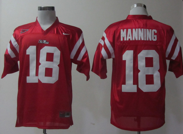 Ole Miss Rebels 18 Achie Manning Red Jerseys