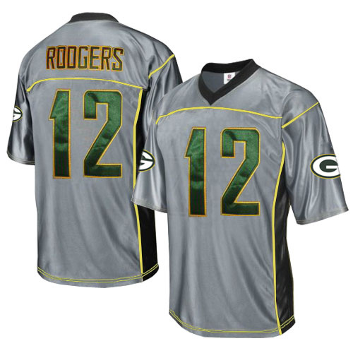 Packers 12 Rodgers Grey Jersey