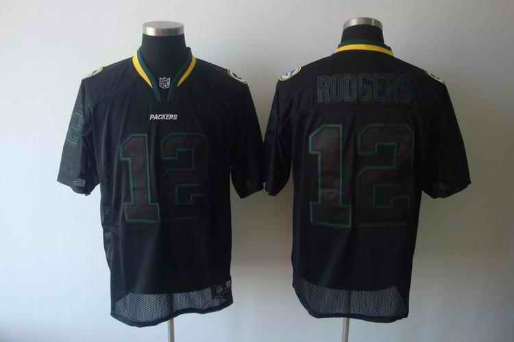 Packers 12 Rodgers black field shadow Jerseys