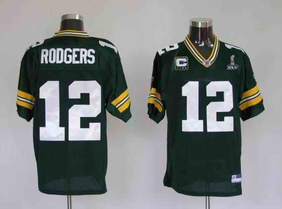 Packers 12 Rodgers super bowl green with c patch Jerseys