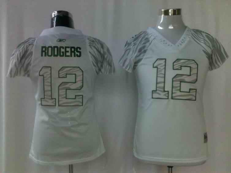 Packers 12 Rodgers white zebra women Jerseys
