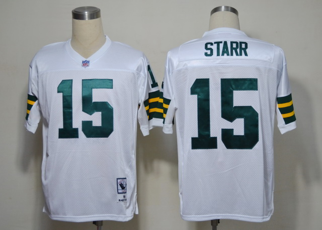 Packers 15 Starr White M&N 1961 Jerseys