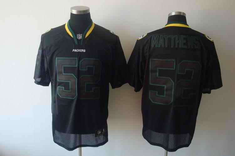 Packers 52 Matthews black field shadow Jerseys