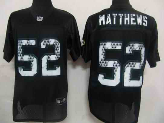 Packers 52 Matthews black united sideline Jersey