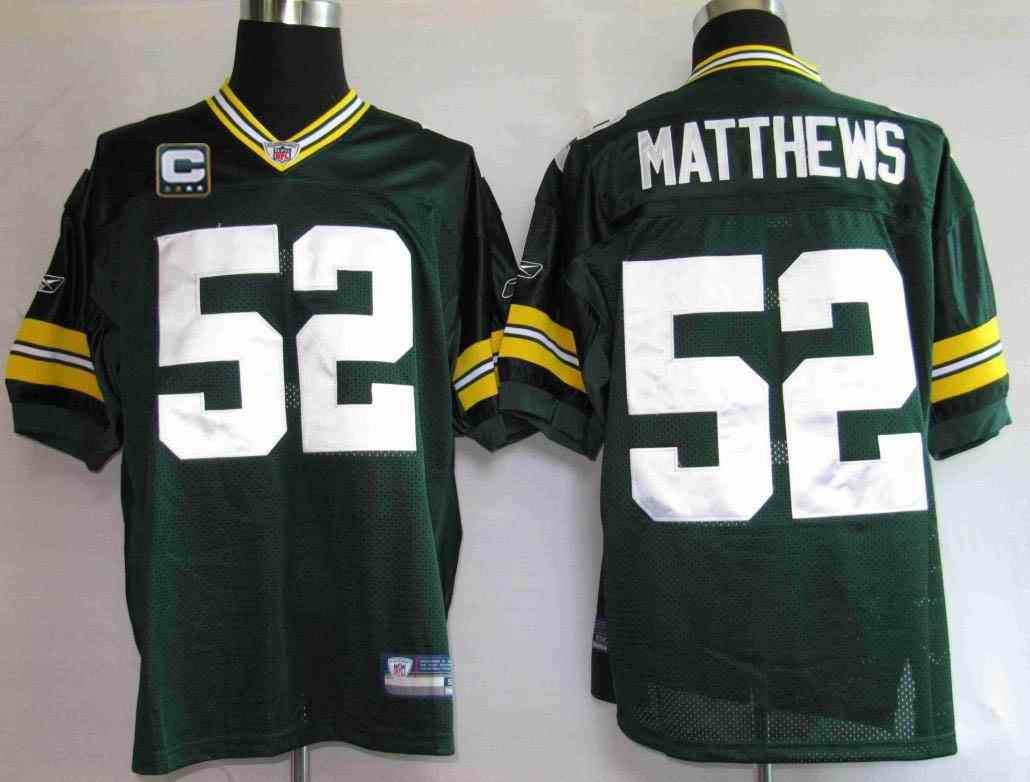Packers 52 Matthews green C patch Jerseys