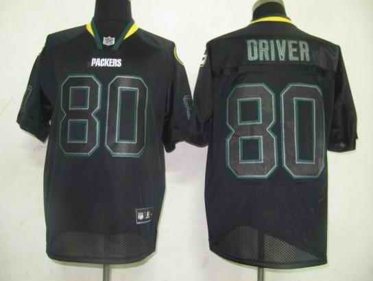 Packers 80 Driver black field shadow Jerseys