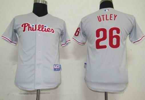 Phillies 26 Chase Utley grey Kids Jersey