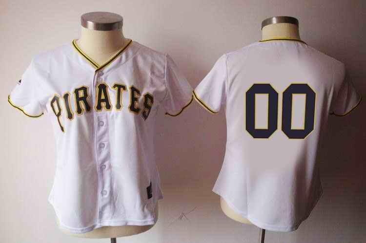 Pittsburgh Pirates Blank White Women Custom Jerseys