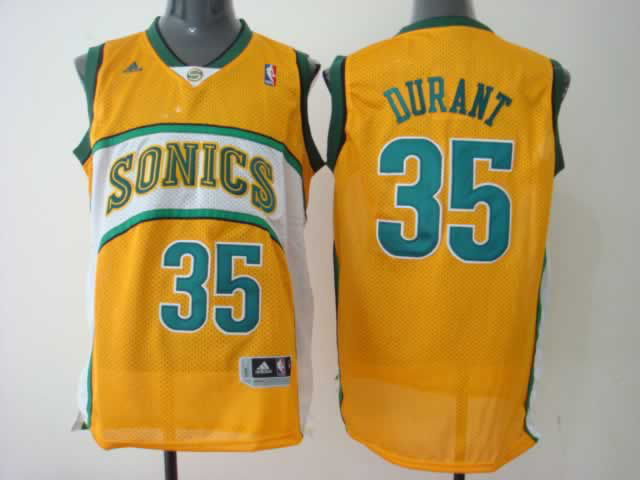 Supersonics 35 Durant Yellow Jerseys