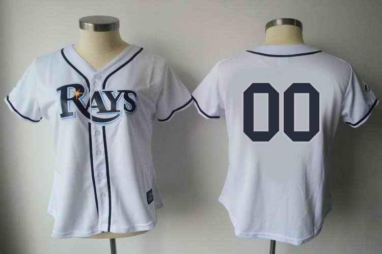 Tampa Bay Rays Blank White Women Custom Jerseys