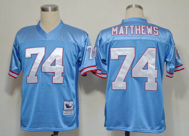 Tennessee Titans 74 Bruce Matthews Blue Throwback Jerseys