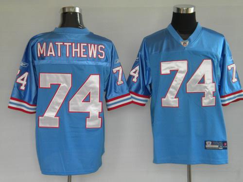 Titans 74 Matthews blue Jerseys