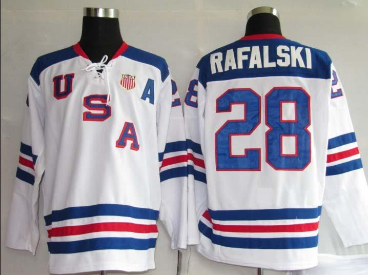 USA 28 Pafal Ski White Jerseys