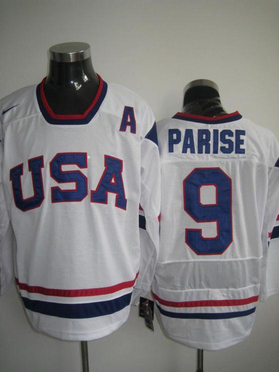 USA 9 Parise White Flat Jerseys