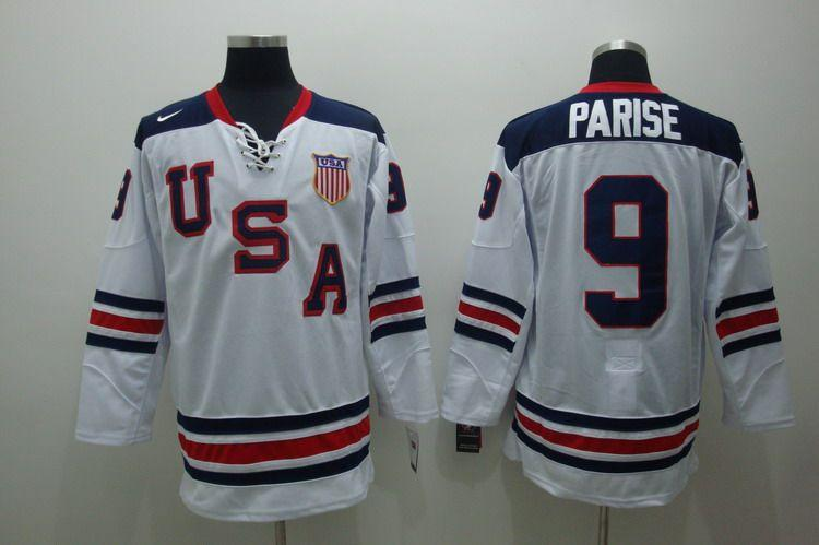 USA 9 Parise White Slant Jerseys