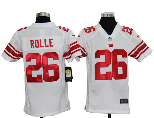 Youth Nike Giants ROLLE 26 White Jerseys