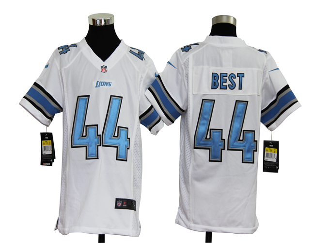 Youth Nike Lions BEST 44 White Game Jerseys