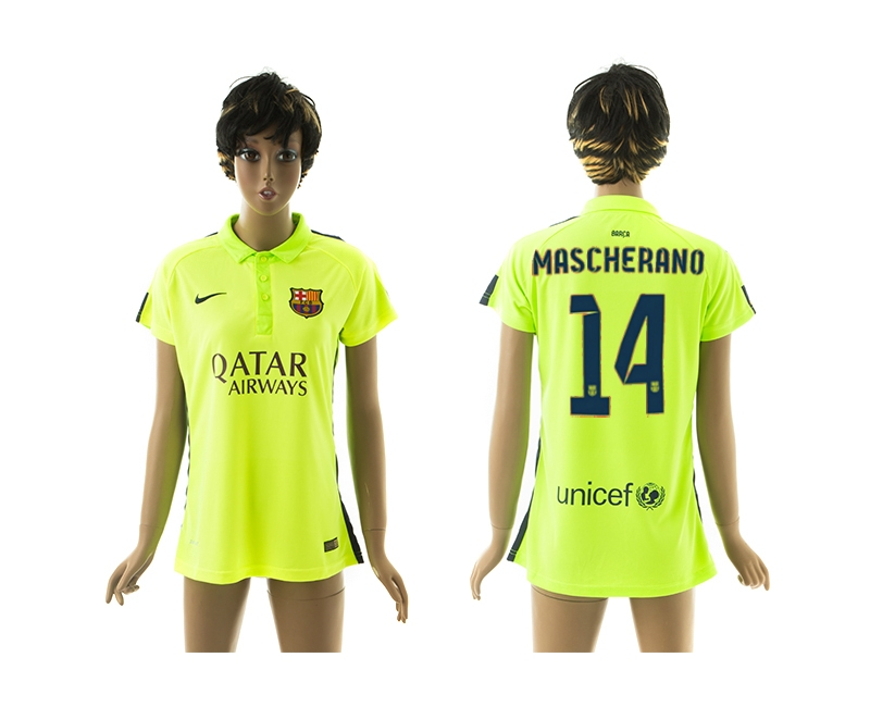 2014-15 Barcelona 14 Mascherano Third Away Women Jerseys