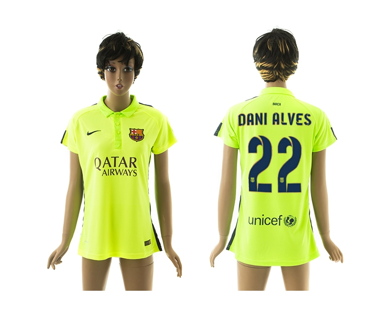 2014-15 Barcelona 22 Dani Alves Third Away Women Jerseys