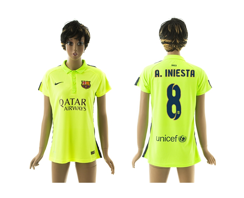 2014-15 Barcelona 8 A.Iniesta Third Away Women Jerseys