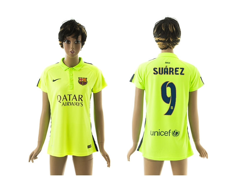2014-15 Barcelona 9 Suarez Third Away Women Jerseys