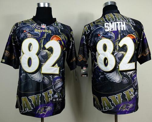 Nike Ravens 82 Smith Stitched Elite Fanatical Version Jerseys