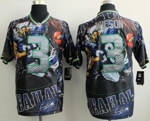 Nike Seahawks 3 Wilson Stitched Elite Fanatical Version Jerseys