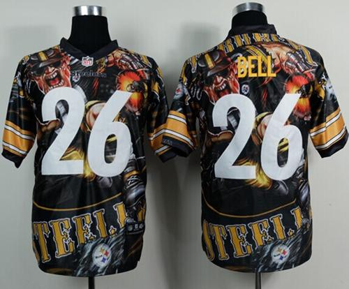 Nike Steelers 26 Bell Stitched Elite Fanatical Version Jerseys