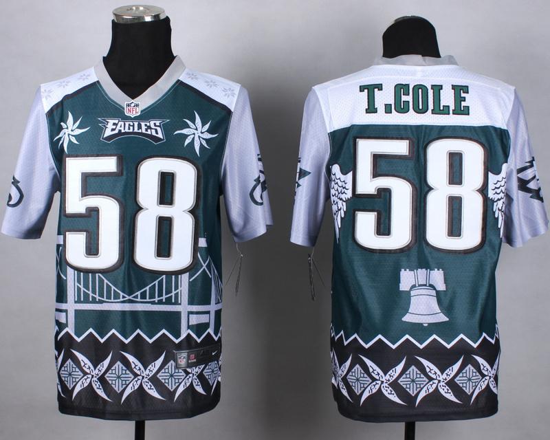 Nike Eagles 58 T.Cole Noble Elite Jerseys