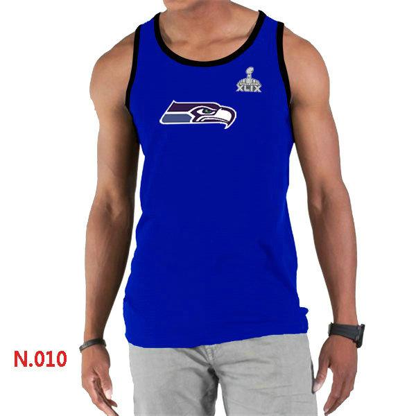 Seattle Seahawks Big & Tall Primary Logo 2015 Super Bowl XLIX Blue Tank Top1