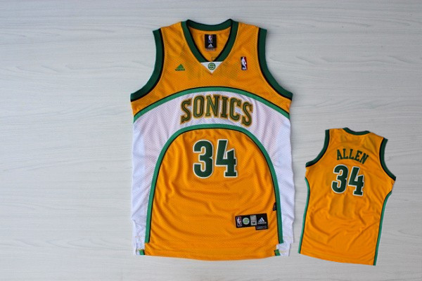 Supersonics 34 Allen Yellow New Revolution 30 Jerseys