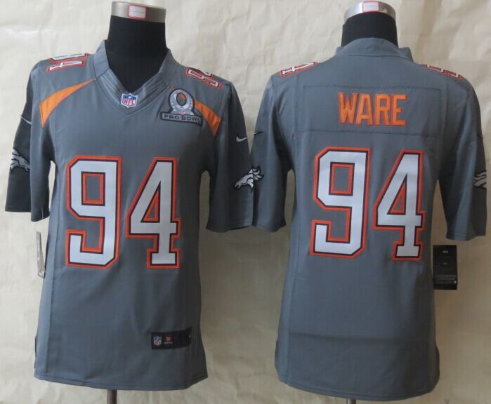 Nike Broncos 94 Ware Grey 2015 Pro Bowl Game Jerseys