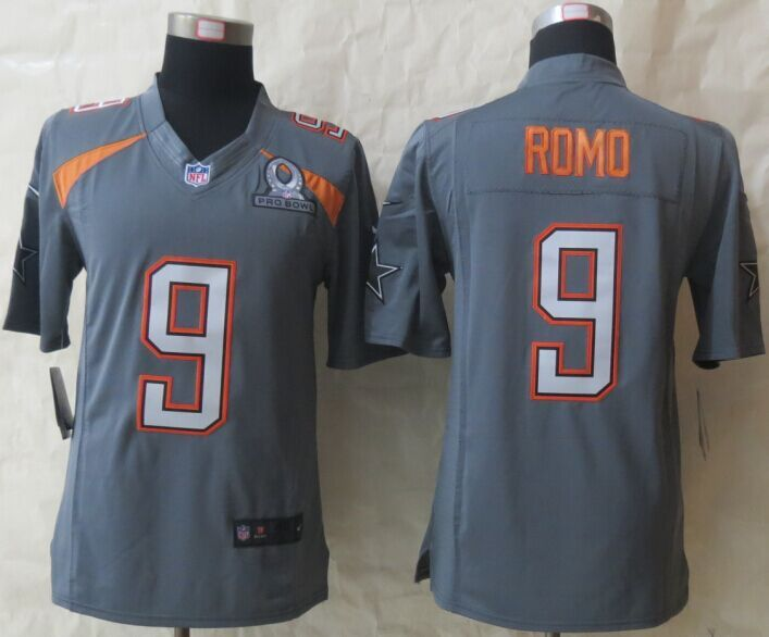 Nike Cowboys 9 Romo Grey 2015 Pro Bowl Elite Jerseys