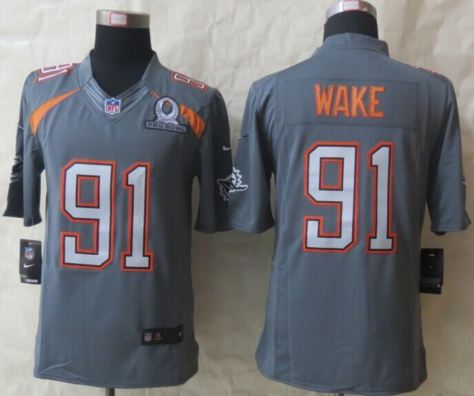 Nike Dolphins 91 Wake Grey 2015 Pro Bowl Elite Jerseys