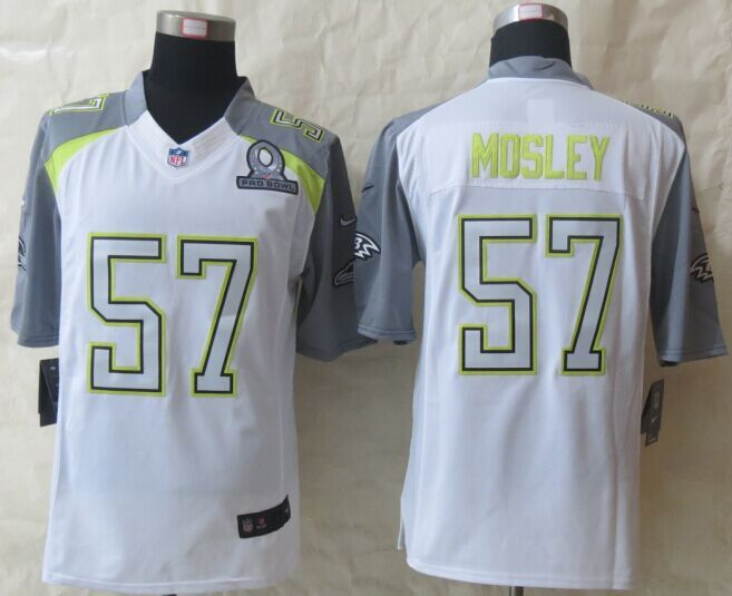 Nike Ravens 57 Mosley White 2015 Pro Bowl Game Jerseys