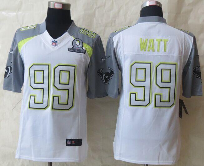 Nike Texans 99 Watt White 2015 Pro Bowl Game Jerseys