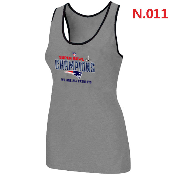 New England Patriots Majestic L.Grey Super Bowl XLIX Women Tank Top