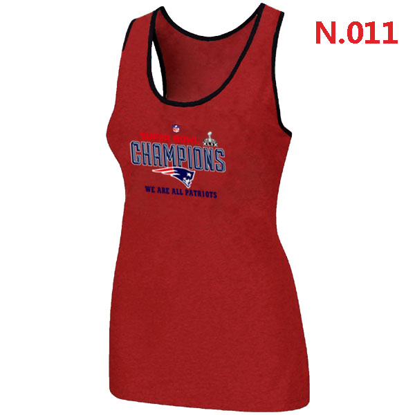 New England Patriots Majestic Red Super Bowl XLIX Women Tank Top