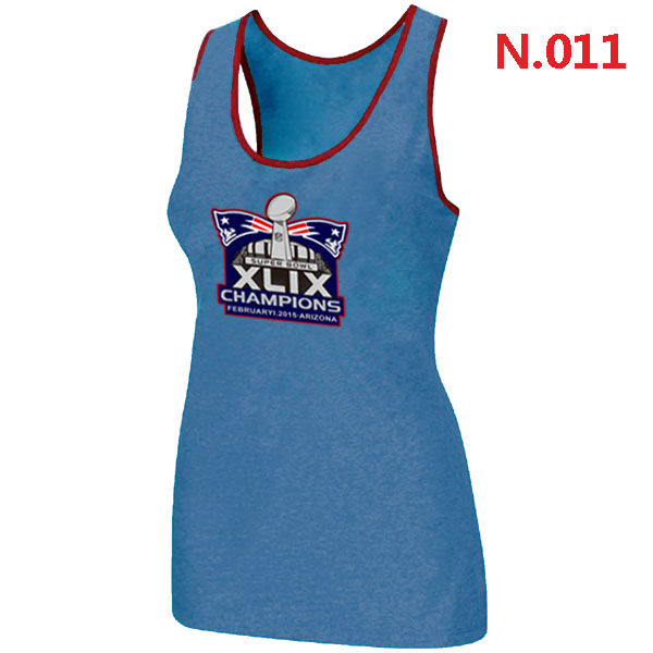 New England Patriots Majestic Super Bowl XLIX Champion Mark Women Tank Top L.Blue