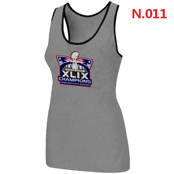 New England Patriots Majestic Super Bowl XLIX Champion Mark Women Tank Top L.grey