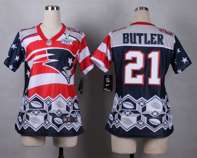Nike Patriots 21 Butler Noble Fashion 2015 Super Bowl XLIX Women Jerseys
