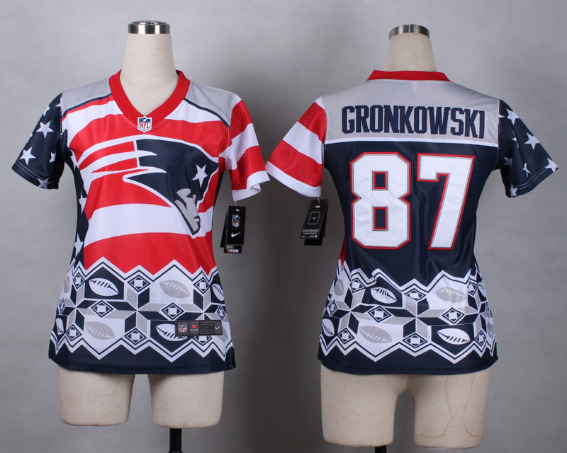 Nike Patriots 87 Gronkowski Noble Fashion Women Jerseys