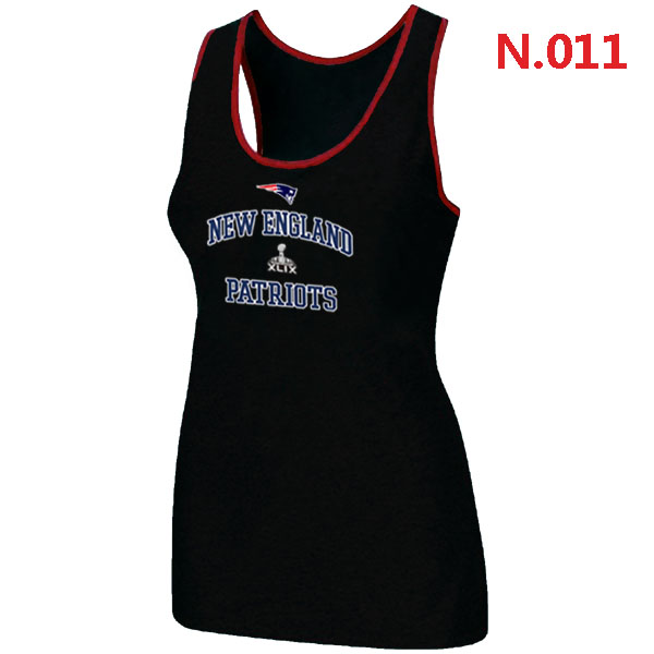 Patriots Majestic Super Bowl XLIX Bound Heart & Soul Women Tank Top Black