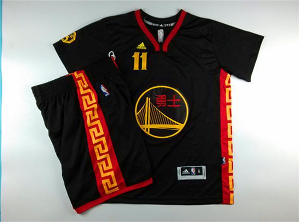 Warriors 11 Thompson Black Chinese New Year Short Sleeve Jerseys((With Shorts)