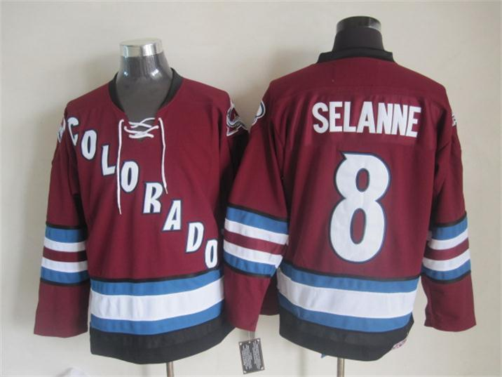Avalanche 8 Selanne Red Jersey